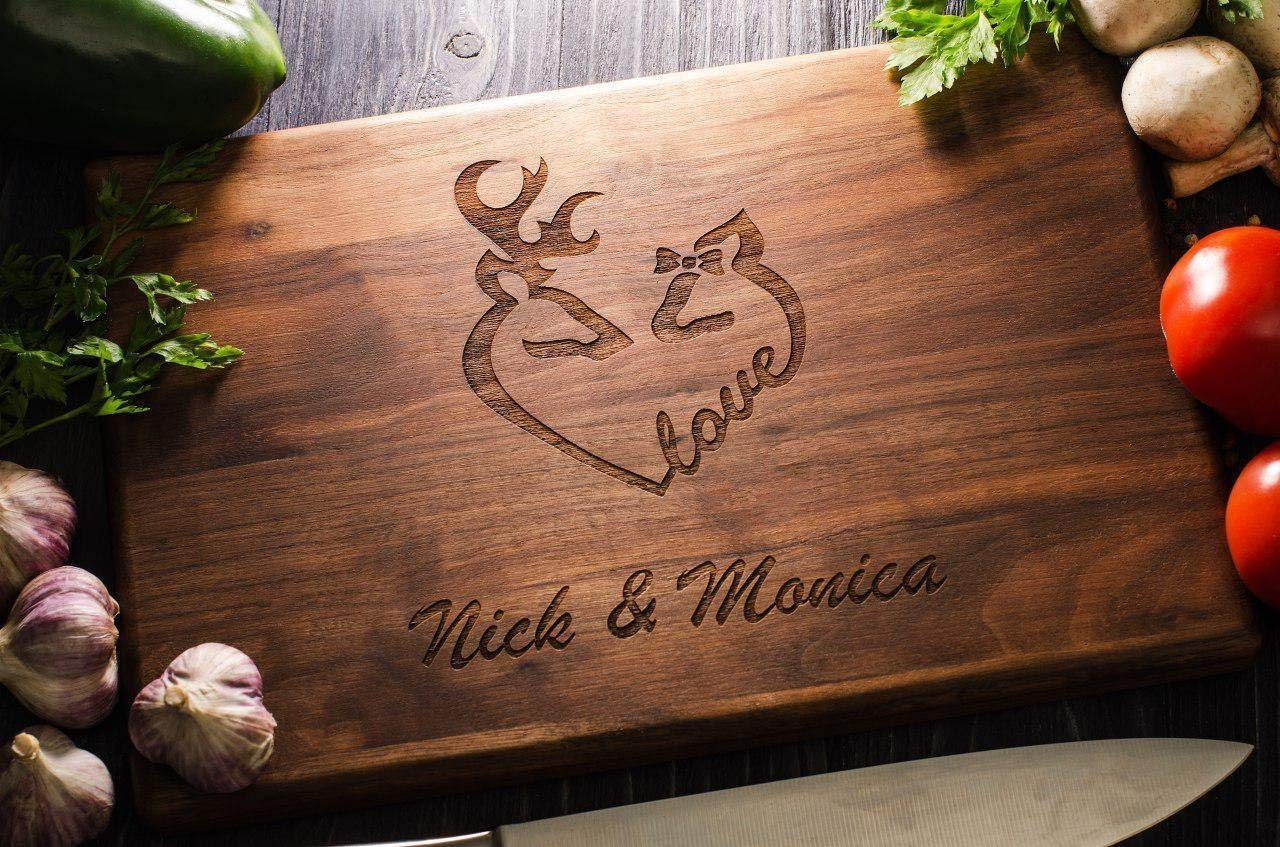 Deers Love Couple Personalized Engraved Cutting Board Wedding Gift Anniversary Gifts Housewarming Birthday Corporate Christmas Bridal Shower Family custom02