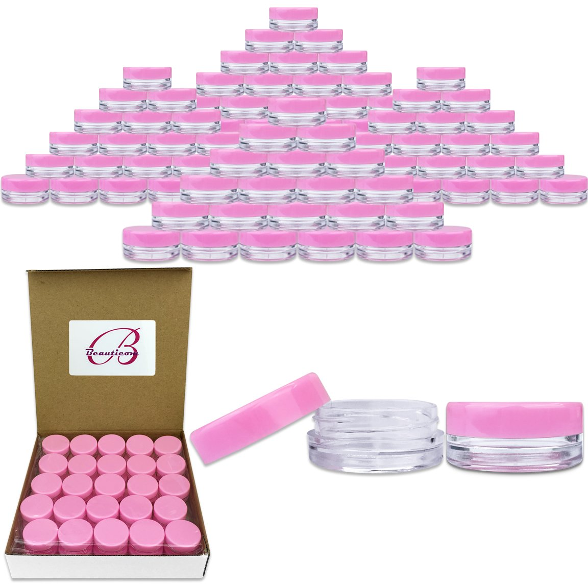 Beauticom 3G/3ML Round Clear Jars with Pink Lids for Powdered Eyeshadow, Mineralized Makeup, Cosmetic Samples - BPA Free (Quantity: 2000 Pieces)