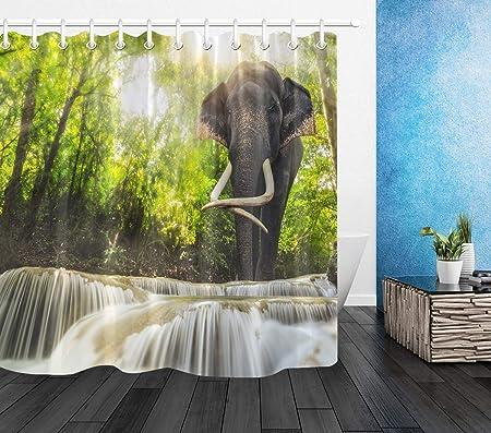 LB Elefante Cortinas de baño Animal en el Bosque Verde por la ...
