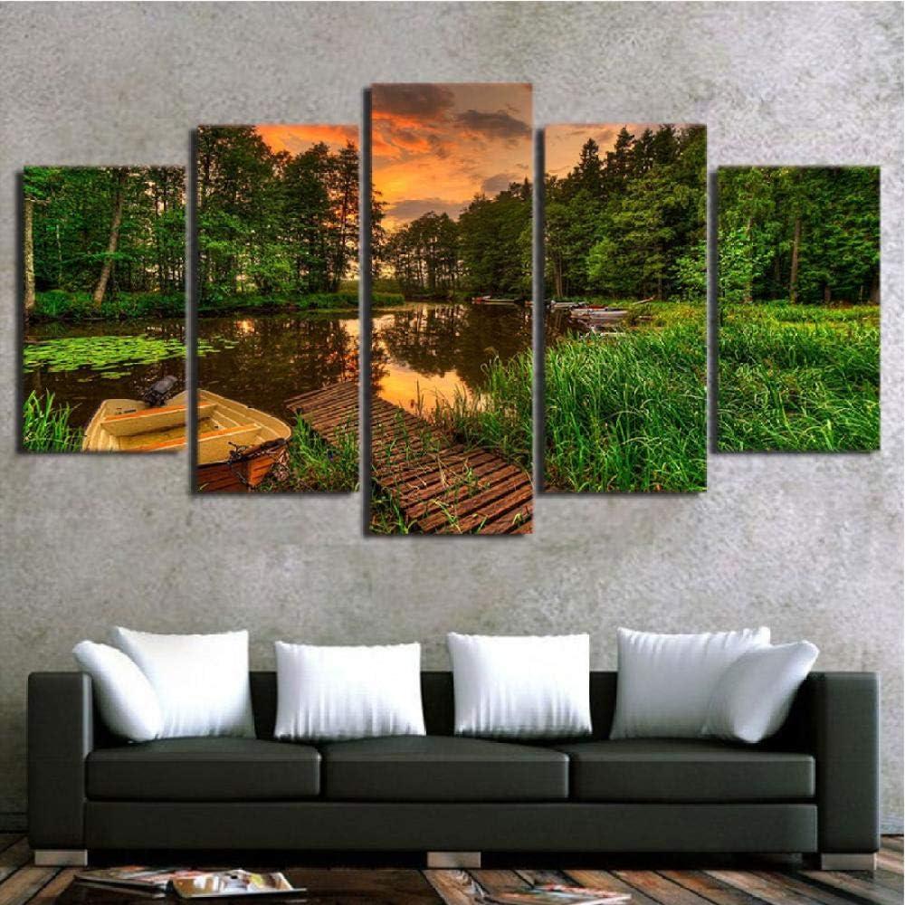 cxtnt Cuadro de pared de arte abstracto 5 piezas Muelle de barco Bosque Sunset Tree Pond Paisaje para sala de estar Decoración del hogar Impresiones de lienzo