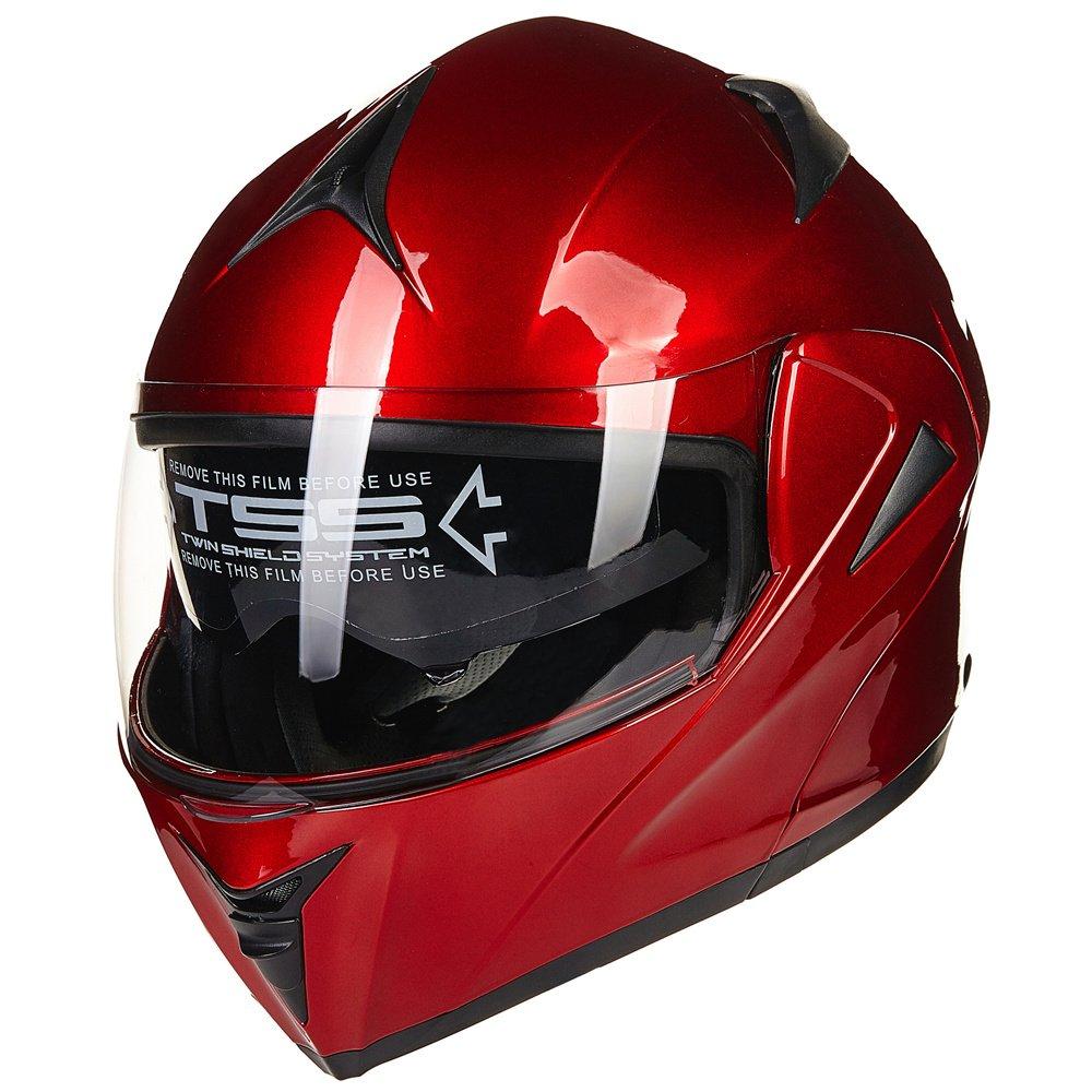 L, Matte Black ILM 10 Colors Motorcycle Dual Visor Flip up Modular Full Face Helmet DOT