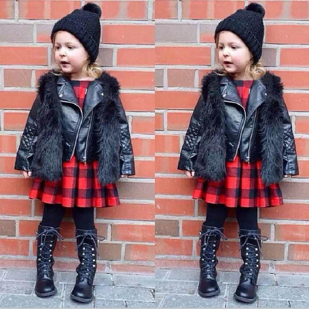 HOMEBABY Toddler Kids Baby Girl Faux Fur Waistcoat Winter Warm Baby Clothes Girls Sleeveless Jacket Winter Body Vest Coat Fluffy Thick Coat Outwear for 3-8 Years