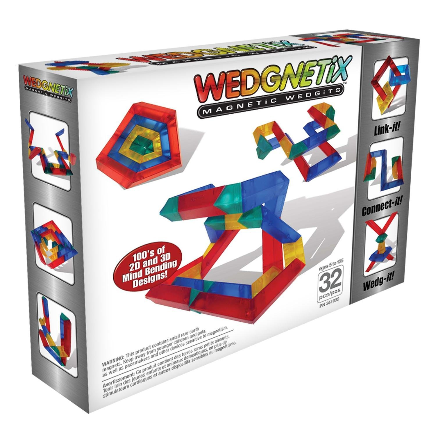 WEDGNETiX 32 Piece Magnetic Construction Kit by WEDGNETiX