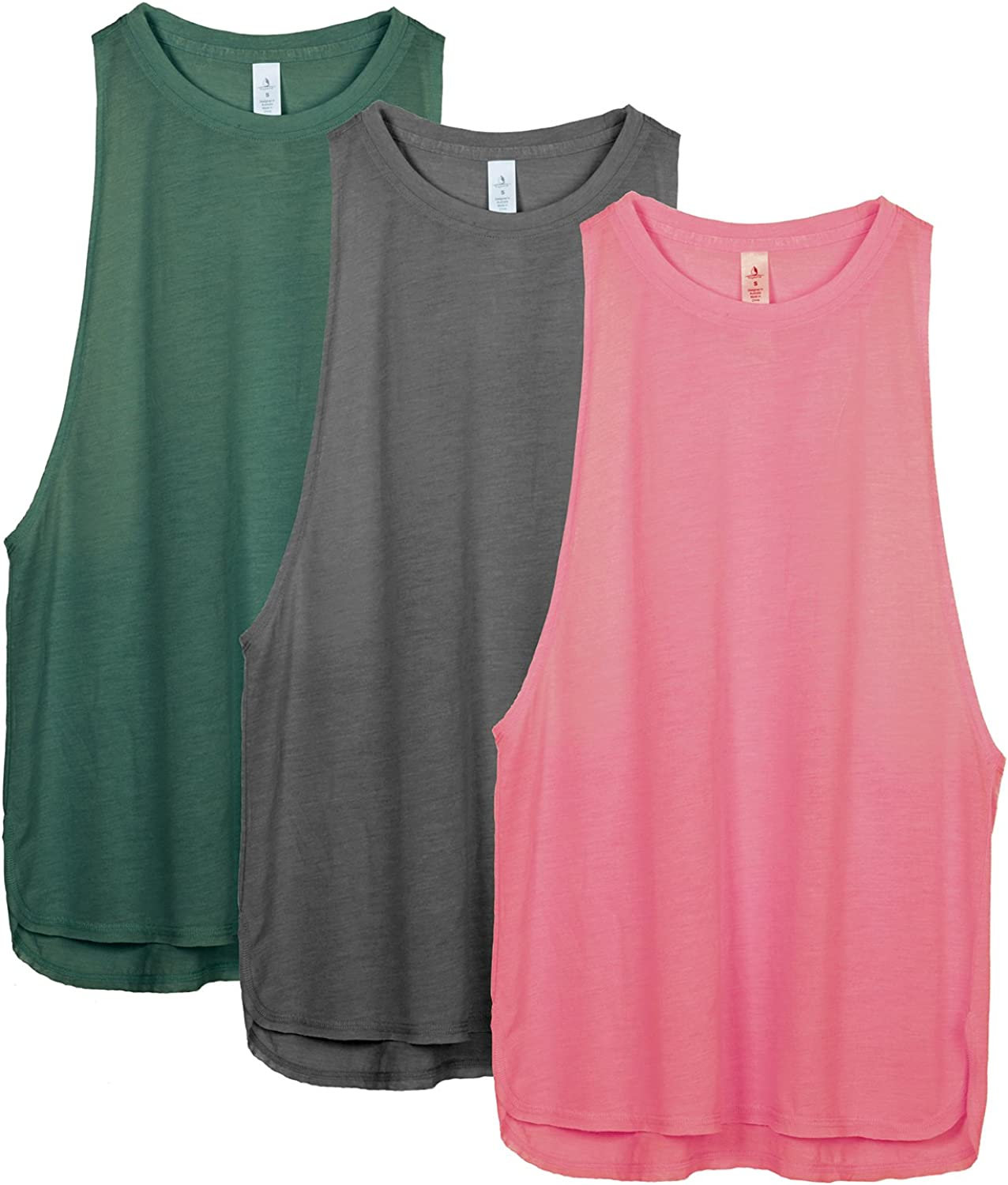 icyzone Workout Tank Tops for Women - Running Muscle Tank Sport Exercise Gym Yoga Tops Running Muscle Tanks(Pack of 3)