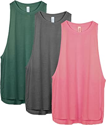 icyzone Workout Tank Tops for Women - Running Muscle Tank Sport Exercise Gym Yoga Tops Athletic Shirts(Pack of 3)
