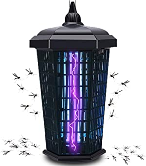 Bug Zapper Mosquito Trap Fly Killer, Electric Insect Lamp 4200v Catcher for Flies Dusk to Dawn Sensor Waterproof Outdoor Indoor - Electronic Light Bulb for Backyard, Patio Large, Home, Plug in