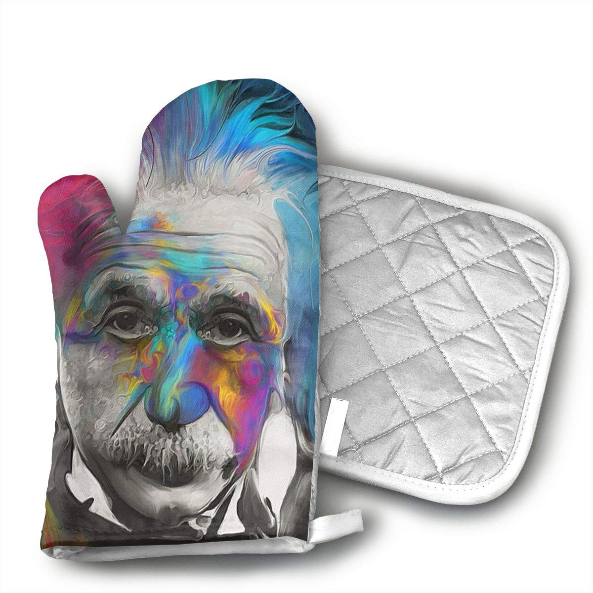 KEIOO Albert Einstein Art Oven Mitts and Potholders Heat Resistant Set of 2 Kitchen Set Non-Slip Grip Oven Gloves BBQ Cooking Baking Grilling