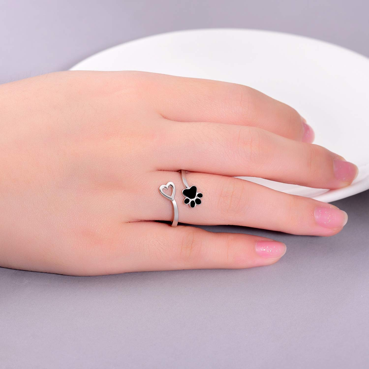 ACJFA 925 Sterling Silver Paw Print Love Heart Ring Adjustable Wrap Open Rings Jewelry for Pet Dog Cat by ACJFA (Image #3)