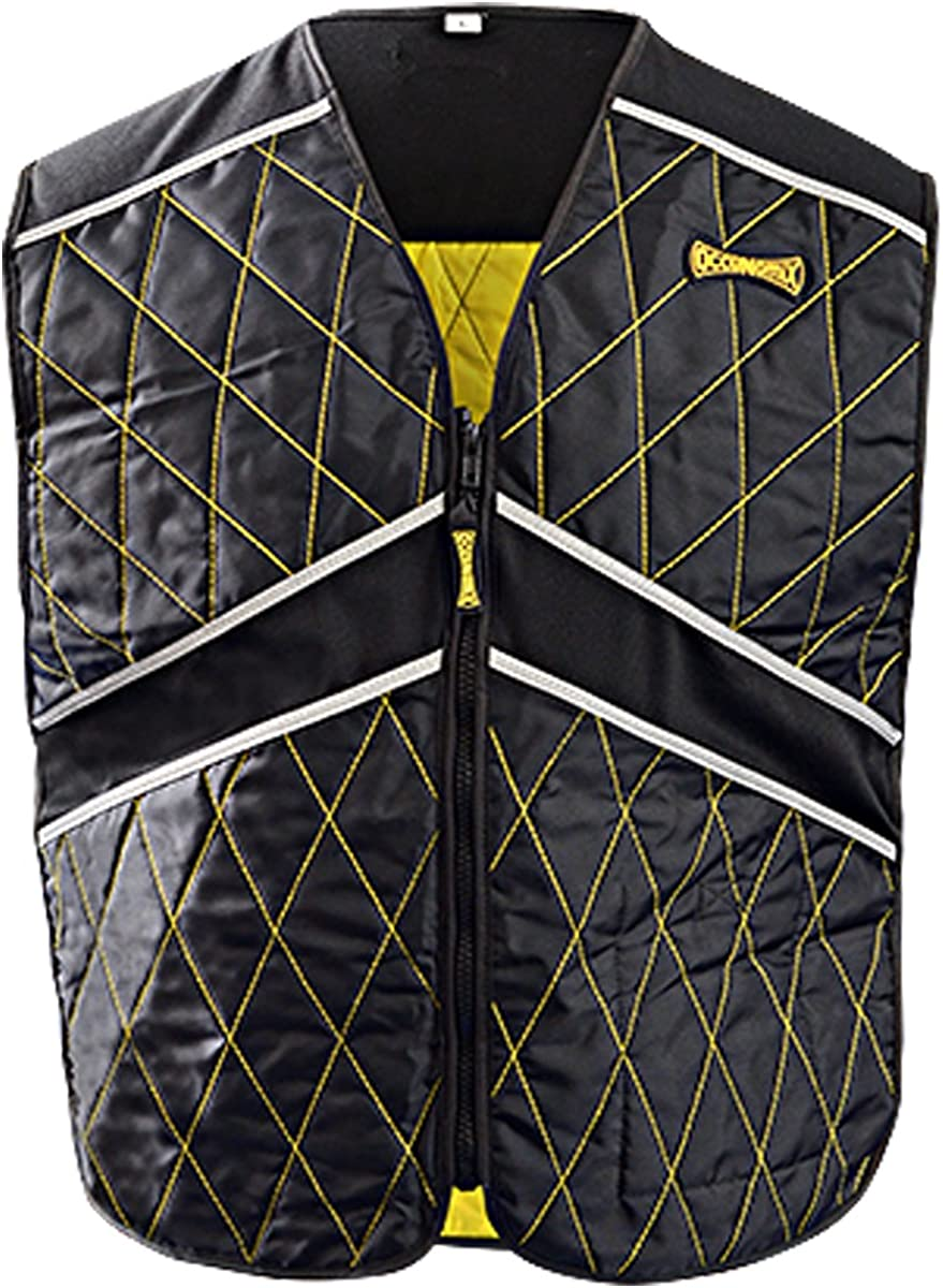 OccuNomix MiraCool Plus Evaporative Cooling Sport Vest - 2X/3X - #903 - Black with Yellow Stitching