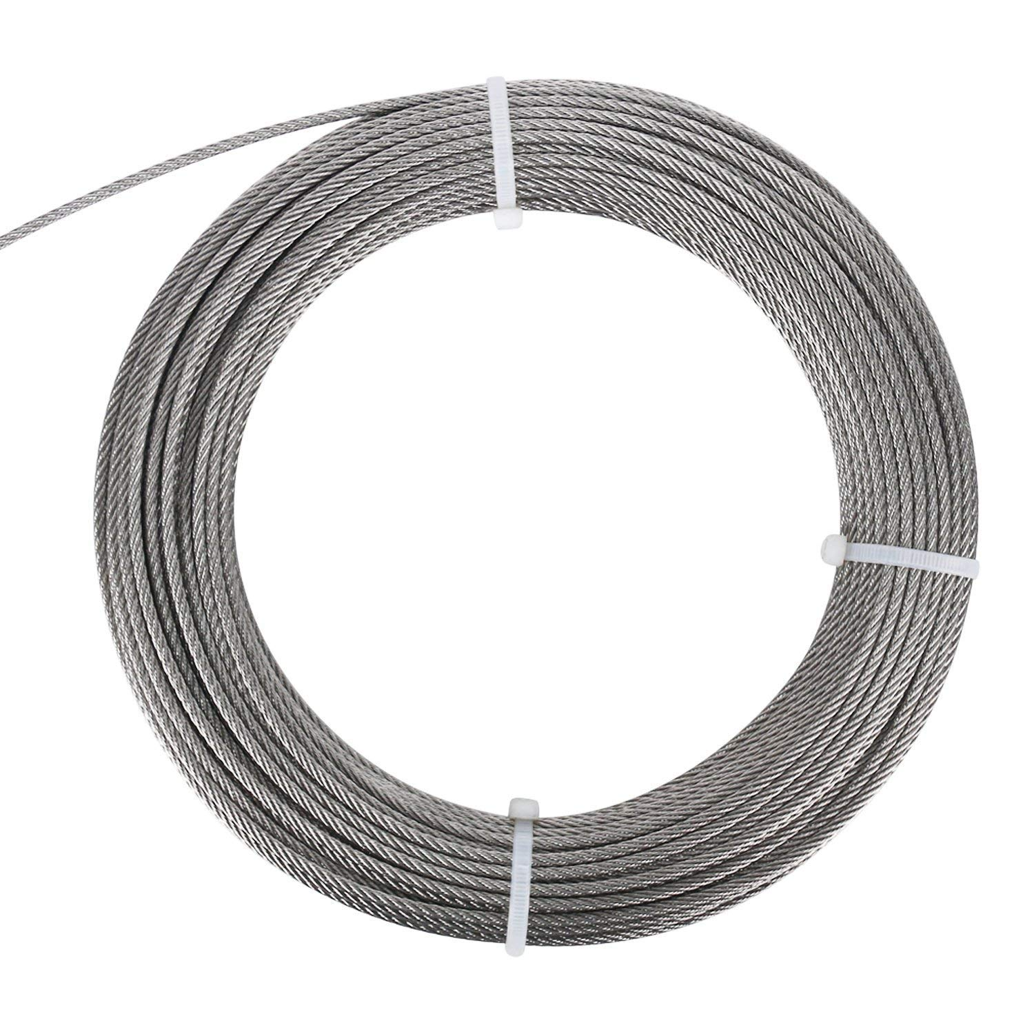 FOLUXING 316 Stainless Steel Wire Rope 1/8'' Aircraft Wire Rope Cable 7x7 for Railing Kit,Decking, DIY Balustrade(164Ft) by FOLUXING (Image #1)