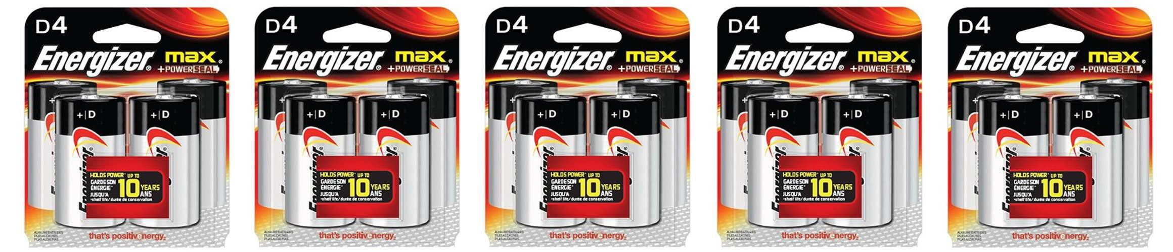 Energizer MAX D tAhUqn Alkaline Batteries, 4 Count, 5 Pack by Energizer