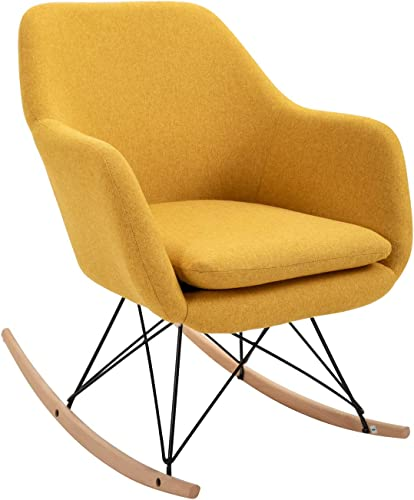 Non-Slip Rocking Chair Modern Nordic Style Upholstered Accent Chair Single Sofa Chair