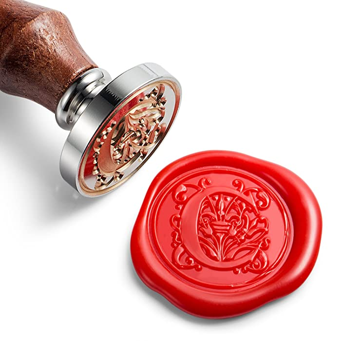 Mceal Wax Seal Stamp, Silver Brass Head with Wooden Handle, Regal Letter C