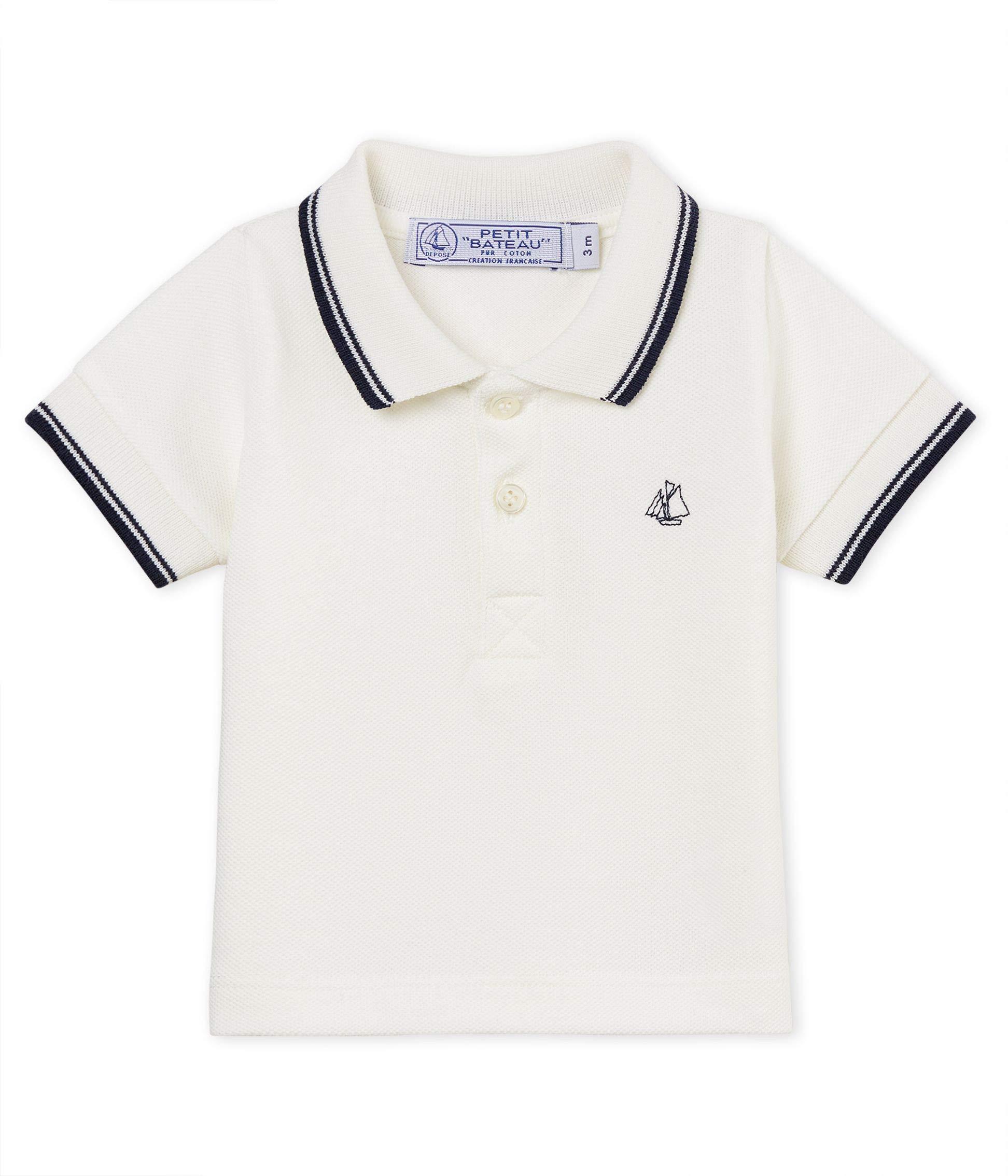 Petit Bateau Baby Boys Short Sleeve Polo, White (12 Months) by Petit Bateau
