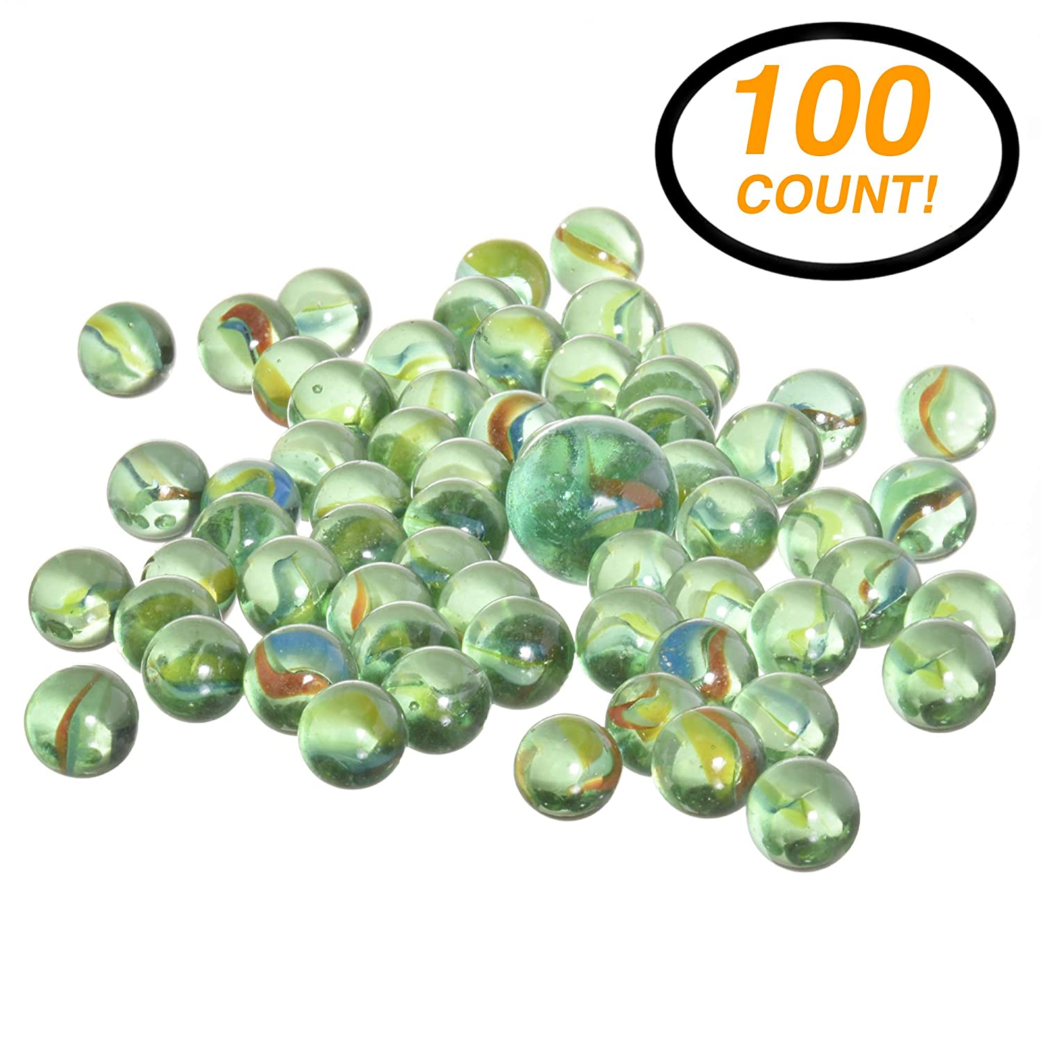 RamPro 100 Pieces Glass Marbles Marble Balls Glass Mega Marbles Toy Shooter Marbles for Marbles Game Classic Marbles Table Scatter Colored Glass Marbles Beautiful Marbles Toys