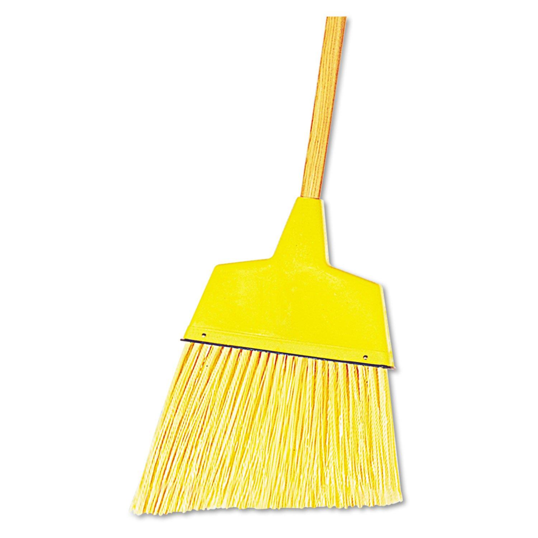 UNISAN Angler Broom, Plastic Bristles, 42 Inch Wood Handle, Yellow (932A)