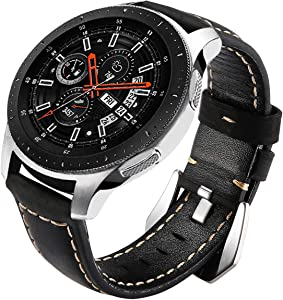 Galaxy Watch 46mm Bands, Maxjoy Gear S3 Frontier Classic Leather Watch Band 22mm Strap S3 Replacement Wristband with Metal Clasp Compatible with Samsung Galaxy Watch 46mm/ Gear S3 SmartWatch, Black