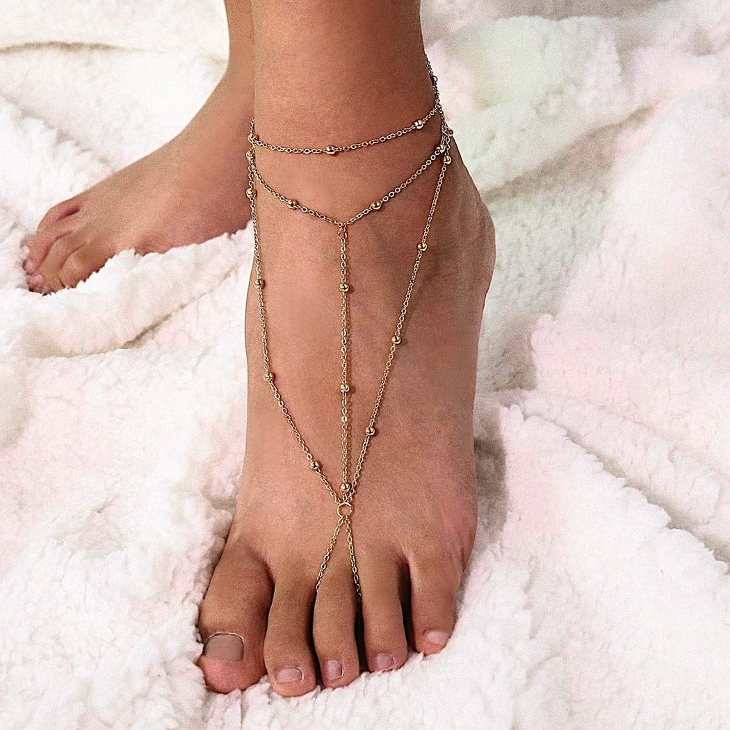 LittleB Boho Anklets Beaded Toe Ring Ankle Bracelet Anklet Beach Foot Chain Jewelry for Women and Girls(2pc) (gold)