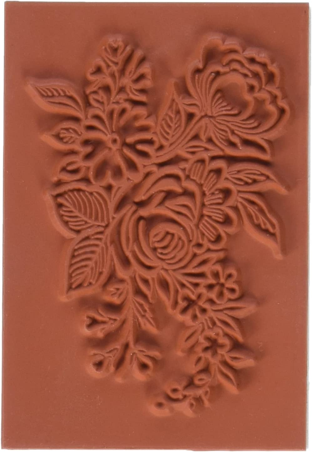 Deep Red Stamps Floral Arrangement Rubber Stamp