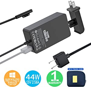 Surface Pro Charger Surface Pro 4 6 Charger, KSW KINGDO 44W 15V 2.58A Power Supply Compatible Microsoft Surface Pro 3 4 5 6 7 X, Laptop 1/2/3 Surface Go 1/2 & Surface Book with Travel Case