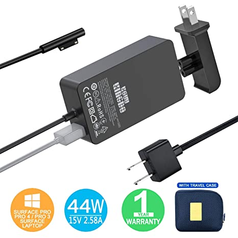 Surface Pro Charger Surface Pro 4 Charger, KSW KINGDO 44W 15V 2.58A Power Supply Compatible Microsoft Surface Pro 4 Pro 3 Pro 6 Surface Pro Laptop 1/2 ...
