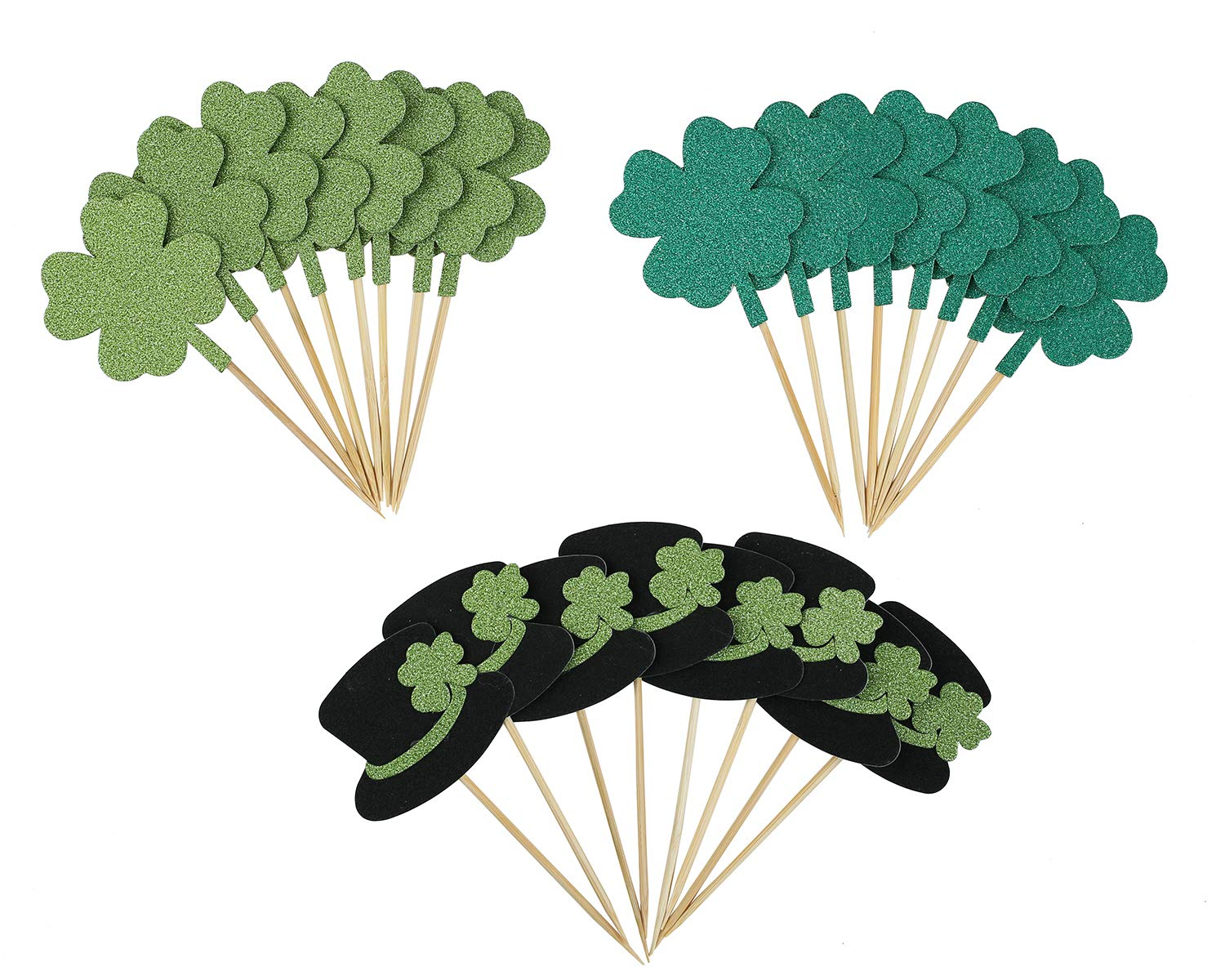 St.Patrick's Day Cupcake Toppers Glitter Clover Leprechaun Hats - Shamrock Saint Paddy's Day Party Supplies Cake Picks Decorations, Set of 24