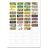 Wandkings Gewürzetiketten 4 cm breit - 48 Stück rechteckige Gewürzaufkleber - Etiketten / Sticker / Aufkleber für Gewürze selbstklebend auf 1 DIN A4 Bogen - Schrift 2