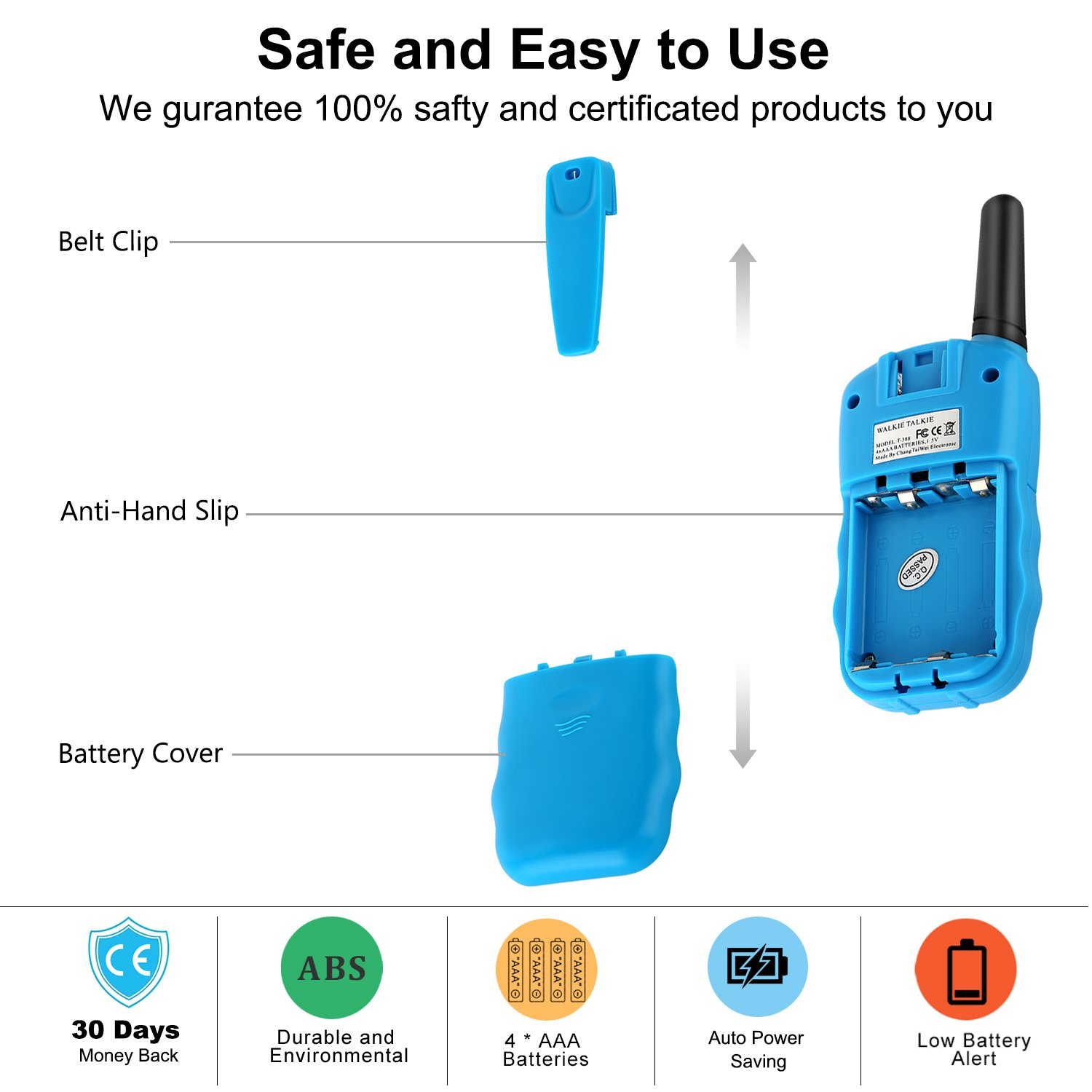 WisHouse Walkie Talkies for Kids,Fashion Toys for Boys and Girls Best Handheld Two Way Radio with Flashlight for 4 Year Old and up to Camping Hiking Riding and Cruise Ship(T388 Blue 4 Pack) by Wishouse (Image #7)