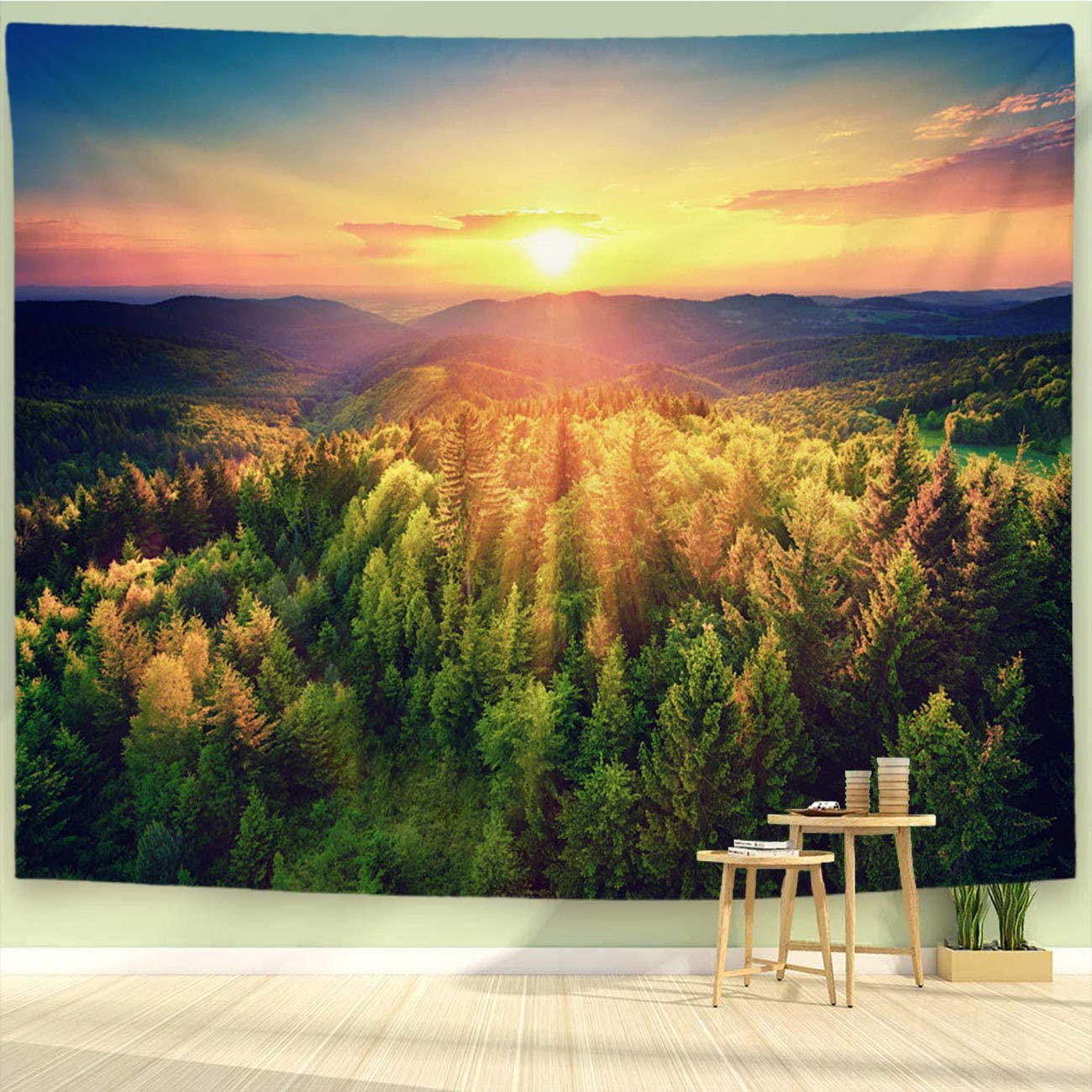 BEIVIVI Sunset Tapestry,Colorful Art Design Tapestry,Scenic Sunset Over The Forest,Polyester Fabric Tapestries for Bedroom Living Room Dorm,90x70in