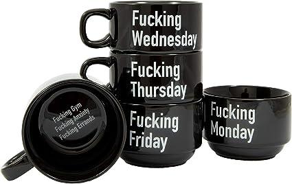 fisura. HM1195 Tasses à café empilables Set de 5 jours Fucking week Noir et  blanc Céramique H23,5 x 8 x 11 cm: Amazon.fr: Cuisine & MaisonAmazon