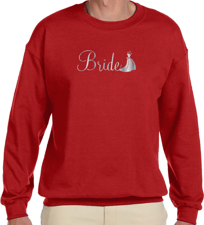 Amdesco Men's Bride, Silver Font, Wedding Dress Design Crewneck Sweatshirt, Red Large