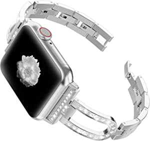 Wearlizer Silver Compatible with Apple Watch Bands Series 6 5 4 40mm 38mm for iWatch SE Womens Stainless Steel U-Type Link Wristband Bling Rhinestone Metal Sleek Unique Dressy Bracelet Seri 3 2 1