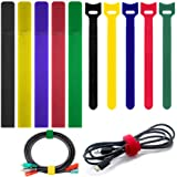 100 Pack Cable Ties with 2 Types FineGood Multi-Color Reusable Fastening Adhesive Cord Rope Organizer Management for…
