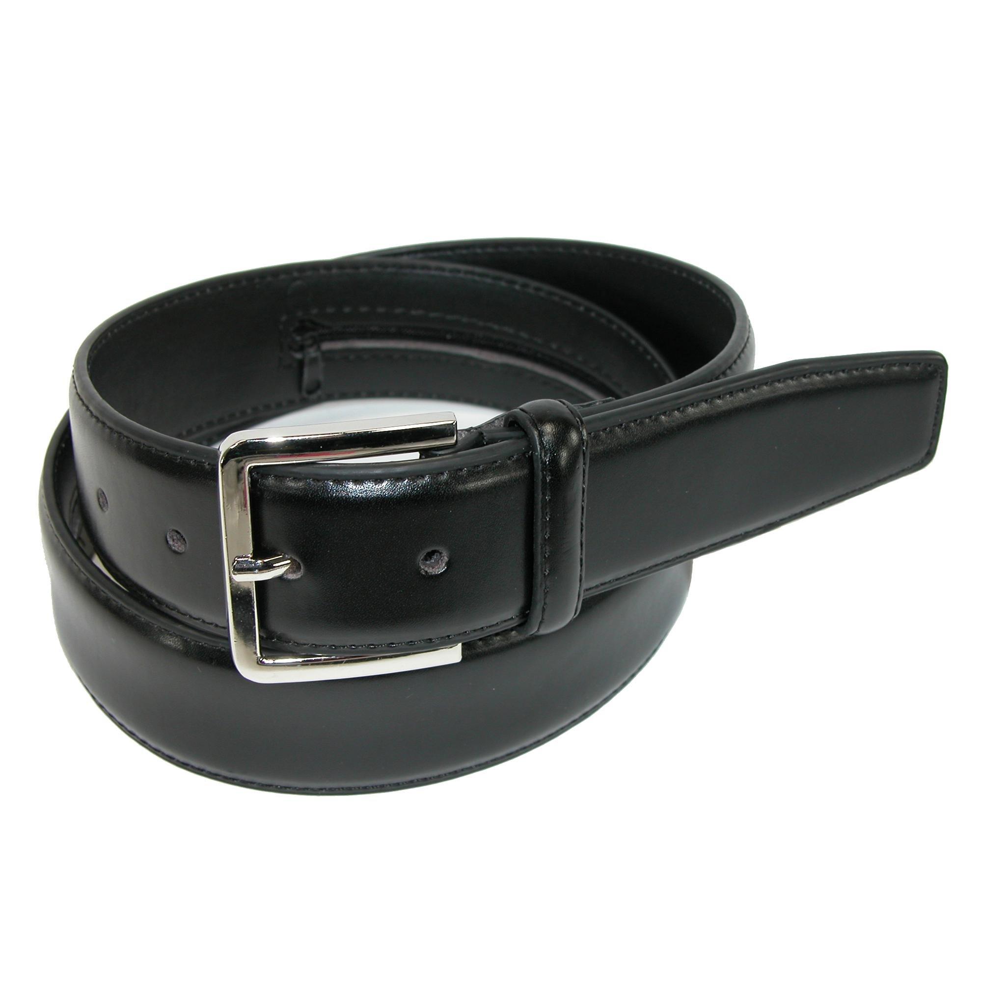 CTM Men's Leather Travel Money Belt (Large Sizes Available), 38, Black