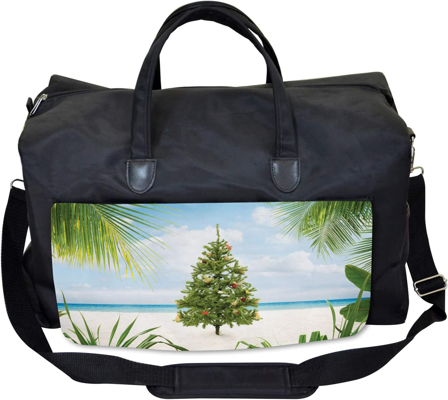 Large Weekender Carry-on Holiday Party Tree Ambesonne Christmas Gym Bag