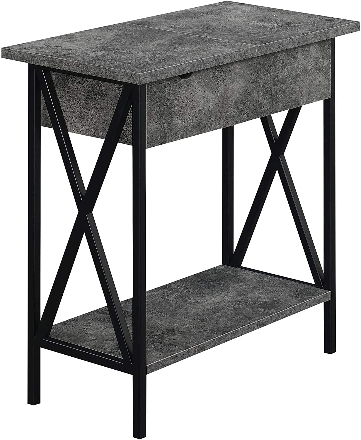 Convenience Concepts Tucson Flip Top End Table with Charging Station and Shelf, Cement/Black