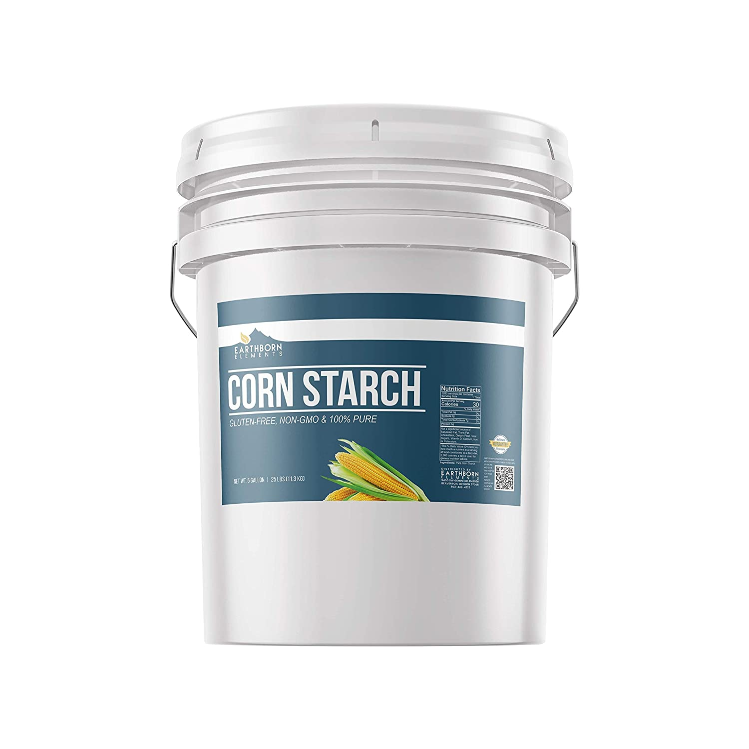 Corn Starch (5 Gallon) Thickener For Sauces, Soups, & Gravies, Highest Quality, All-Natural, Food Safe & USP Grade, Vegan, Gluten-Free, Resealable Bucket by Earthborn Elements