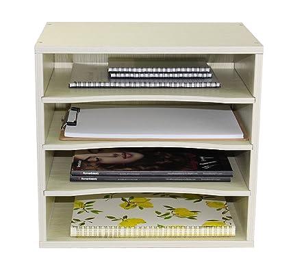 Pag Office Supplies Wood Desk Organizer Desktop File Mail Sorter With 3 Adjustable Drawer Boards