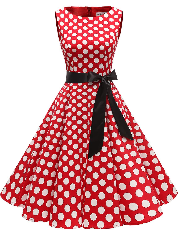 6acd07041a7 Galleon - Gardenwed Women's Audrey Hepburn Rockabilly Vintage Dress 1950s  Retro Cocktail Swing Party Dress Red White Dot M