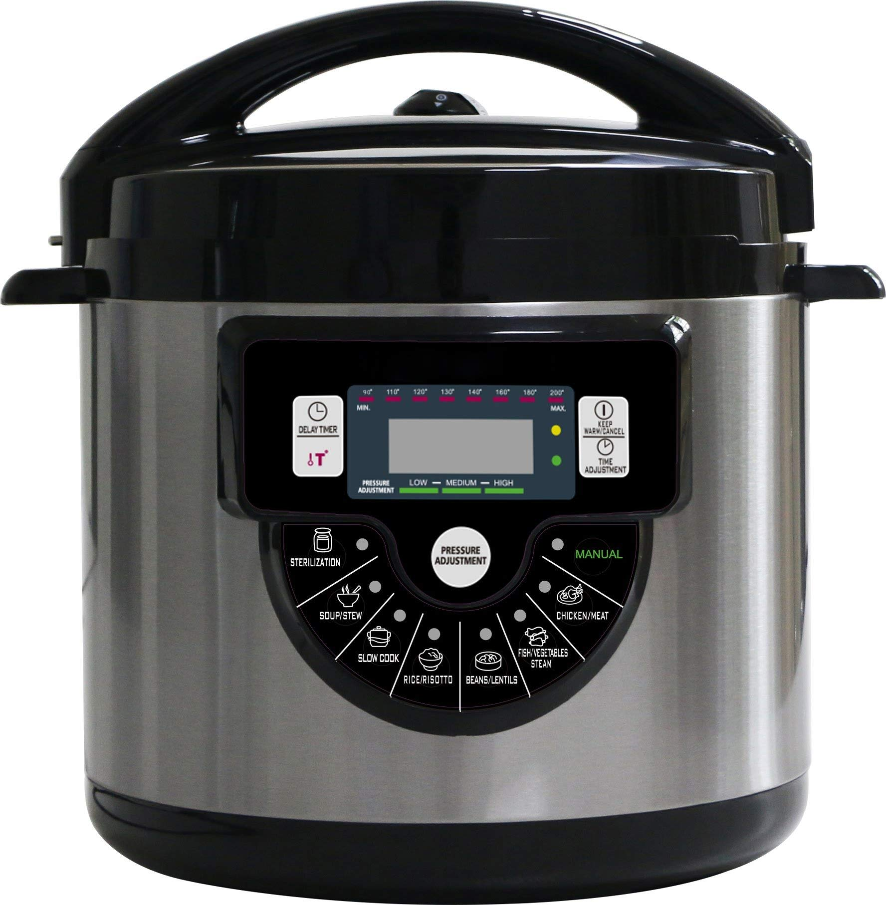 8-in-1 6Q Multi-function Pressure Cooker, Rice Cooker, Slow Cooker, Steamer, and Warmer with Accessories