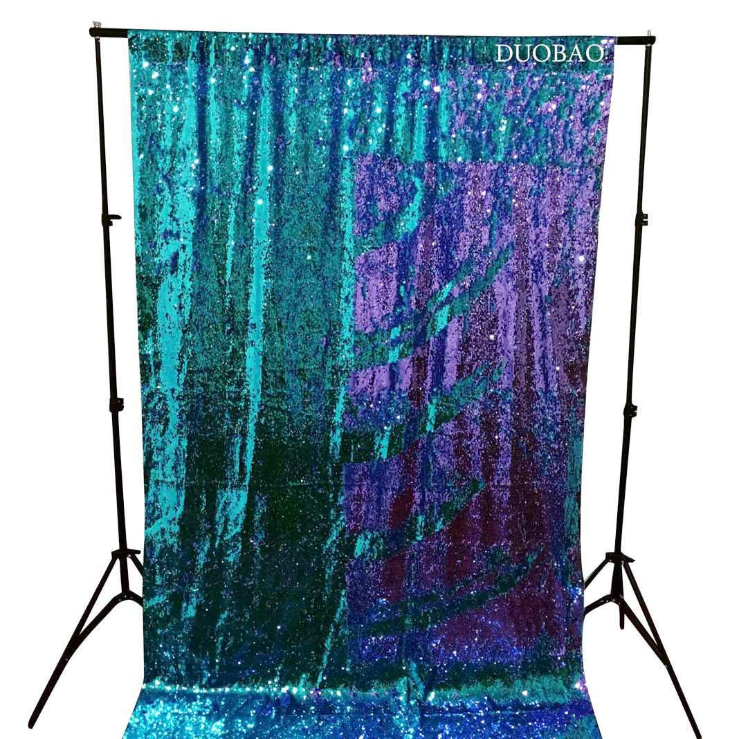DUOBAO Sequin Backdrop 20FTx10FT Turquoise to Lavender Wedding Pics Backdrop Mermaid Reversible Sequin Photo Backdrop Baby Shower Curtains by DUOBAO (Image #2)
