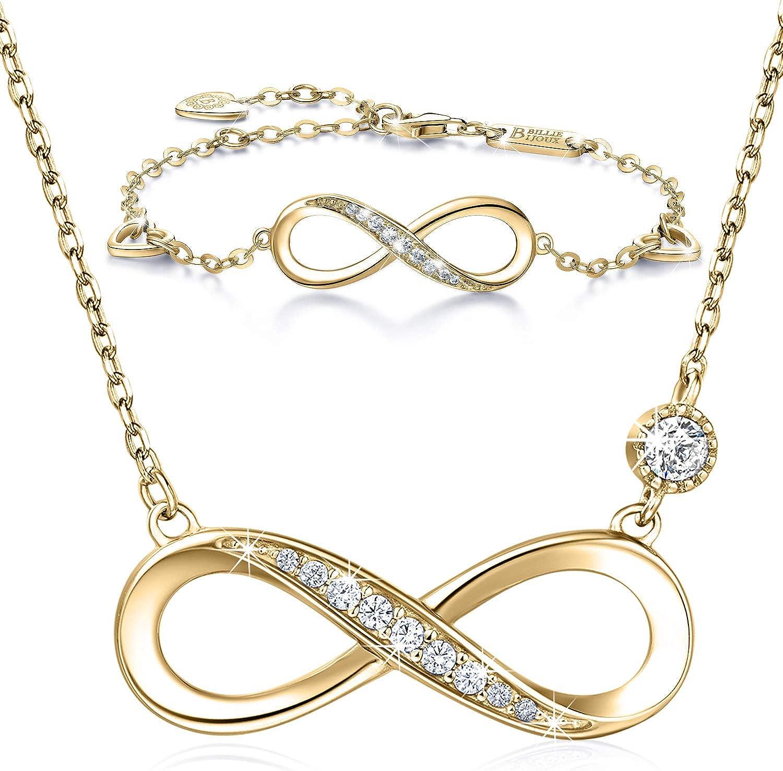 Billie Bijoux - Juego de collar y pulsera de plata de ley 925, diseño de corazón infinito, chapado en oro blanco, collar para mujer