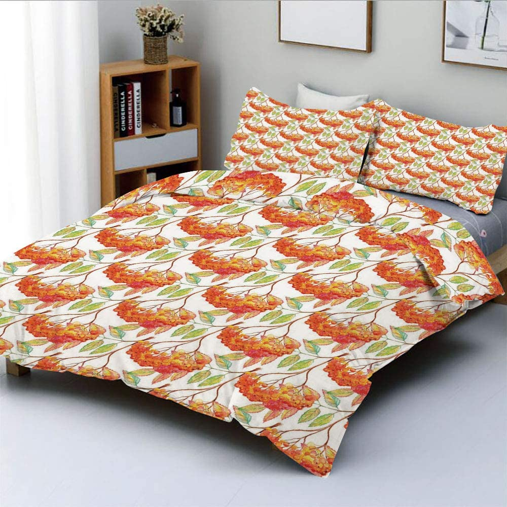 Duplex Print Duvet Cover Set Full Size,Watercolor Rowan Ashberry Leaf Branch Botany Garden in Fall Season Eco ThemeDecorative 3 Piece Bedding Set with 2 Pillow Sham,Orange Pink Green,Best Gift For Kid