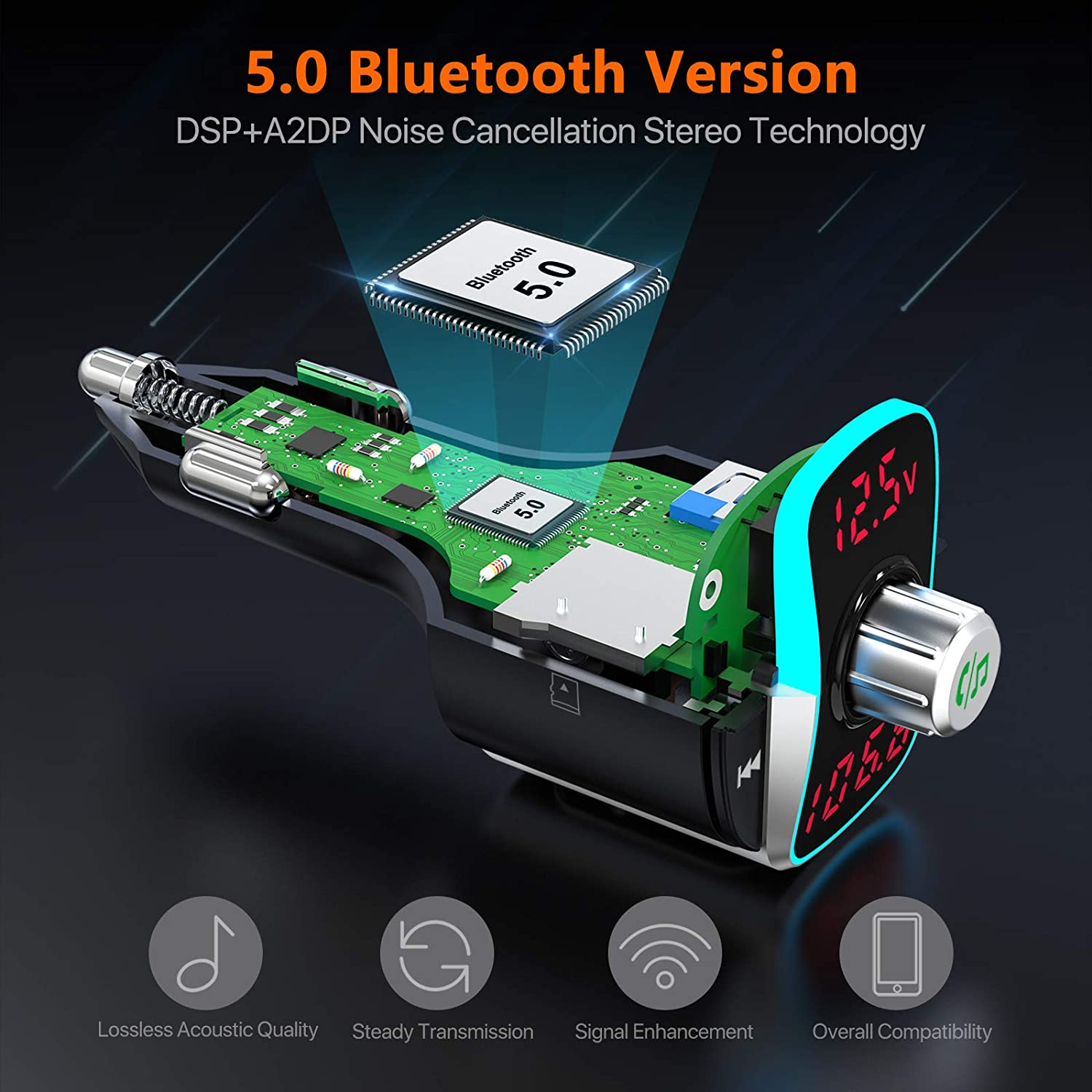 FM Transmitter for Car : Dual Screen Display QC3.0 /& PD 18W Radio Adapter Music Player//Car Kit with Hands-Free Calls Nulaxy Bluetooth 5.0 Car Adapter Siri Google Assistant NX14