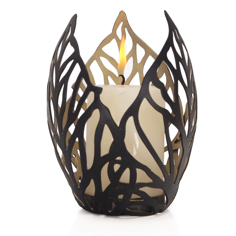 Homebeez Decorative Leaf Design Candle Holder, Black