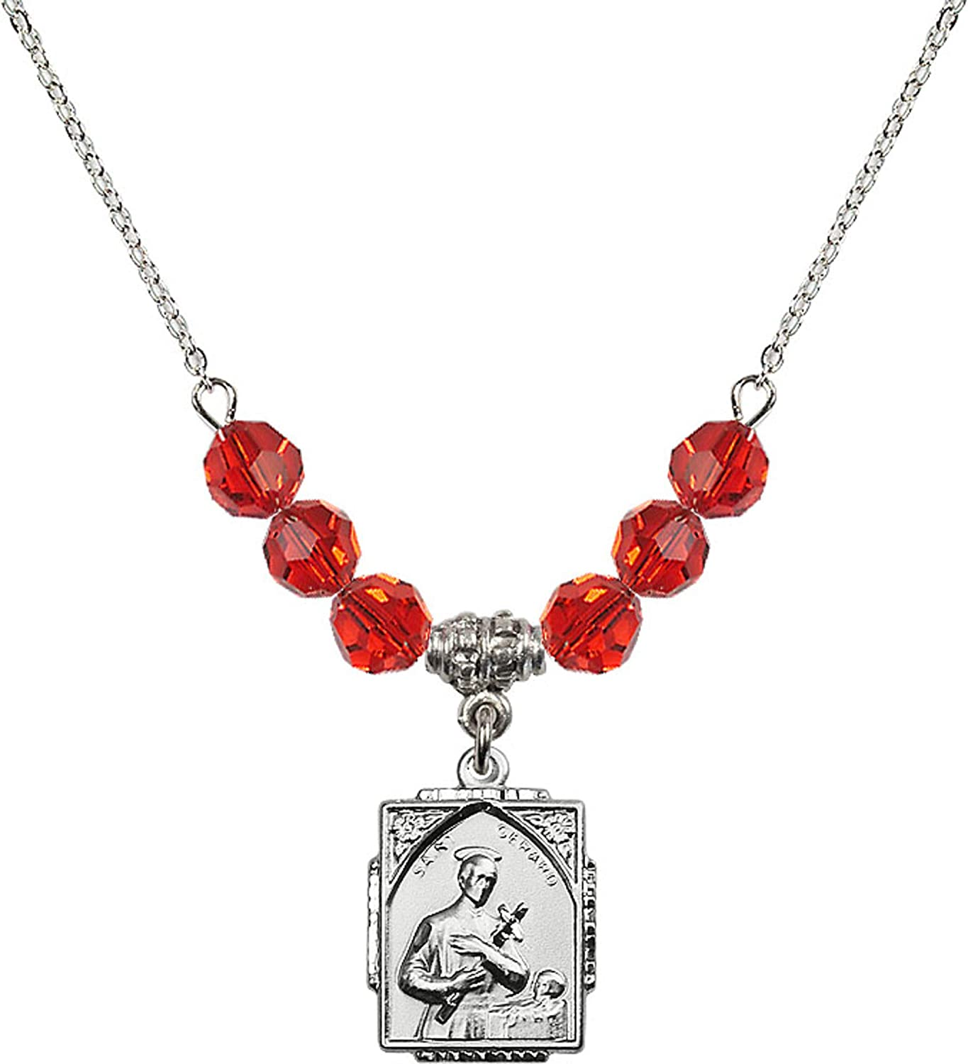 Bonyak Jewelry 18 Inch Rhodium Plated Necklace w// 6mm Red July Birth Month Stone Beads and Saint Gerard Charm