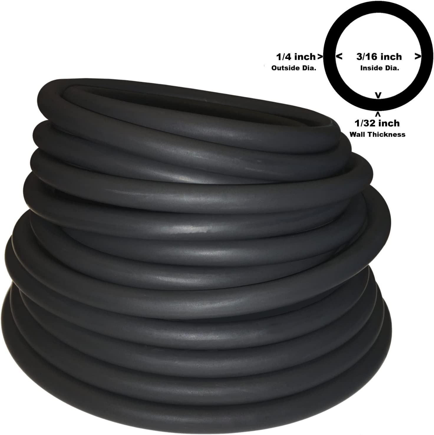 1/4in OD 3/16in ID 1/32in Wall Quality Thin Walled Black Latex Rubber Tubing ONE Continuous Piece (Select Length) (#602)