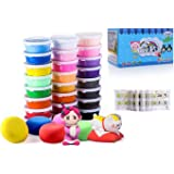 Air Dry Clay, 24 Colors Ultra Light Modeling Clay, CiaraQ Magic Clay DIY Creative Modeling Dough with Project Booklet …