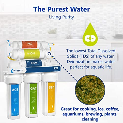 Express Water Deionization Reverse Osmosis Water Filtration System 6 Stage RO DI Water Filter with Faucet and Tank Distilled Pure Under Sink Home Water Softener 100 GPD