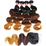 Allove Hair 8A Ombre Brazilian Virgin Hair Body Wave Bundles with Closure (14 16 18 20+14) 1B-4-27 Ombre Body Wave Hair Weave with 4X4 Free Part Body Wave Lace Closure …